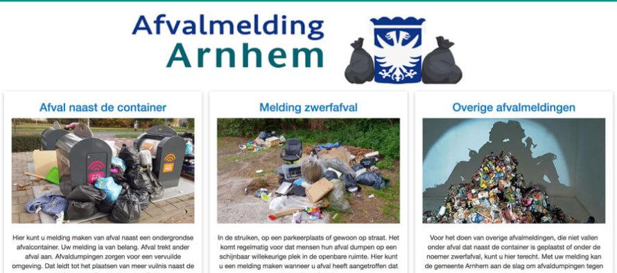 Arnhemmers kunnen afvaldumping nu melden via afvalmeldingarnhem.nl